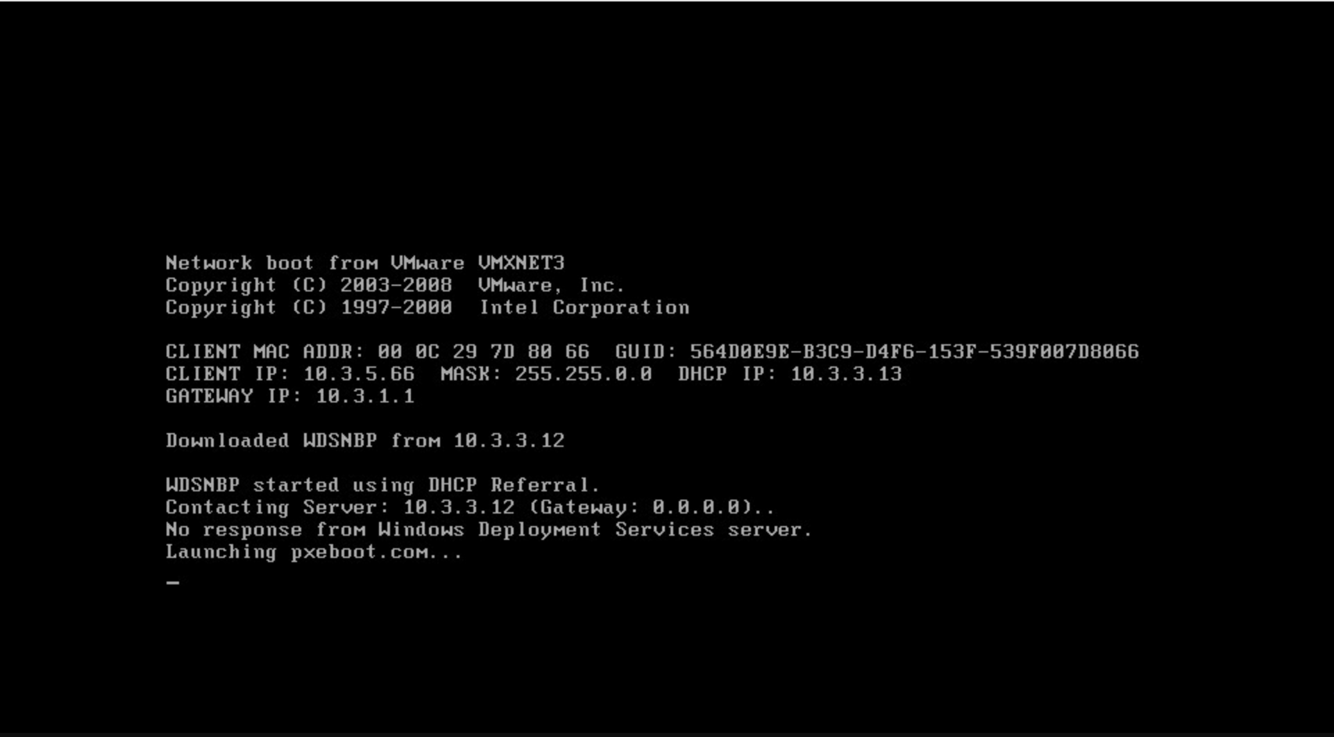 Photo of No response from Windows Deployment Services server