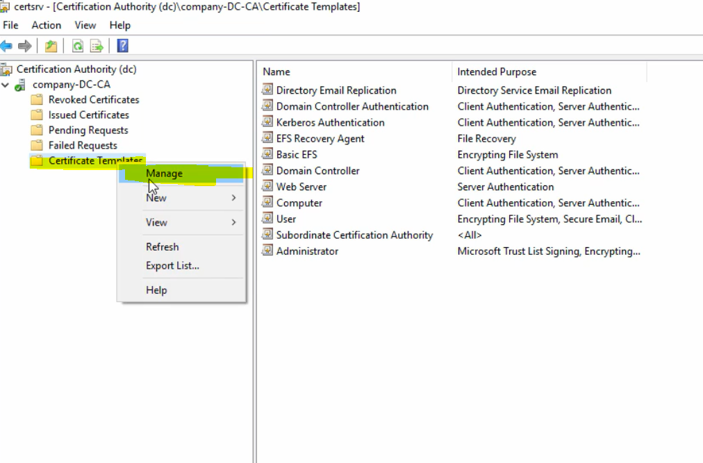 pki certificate requirement sccm template workstation authentication webserver duplicate authority